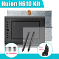 2 ручки HUION H610 графика графический цифровой планшет комплект + Parblo два Finger перчатки 10 дополнительные пера + защитная пленка