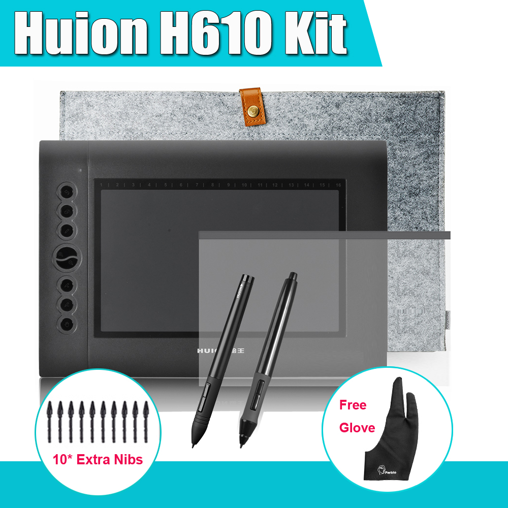 2 Pens HUION H610 Graphics Drawing Digital Tablet Kit + Parblo Two-Finger Glove + 10 Extra Pen Nibs + Protective Film