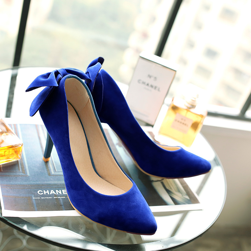 hot summer High Heels Ladies Shoes Flock Pointed Toe Women Pumps Shoes elegant Woman High Heels Large Size 9 10 43 Blue red women pumps flock high heels shoes woman fashion 2017 summer leather casual shoes ladies pointed toe buckle strap high quality