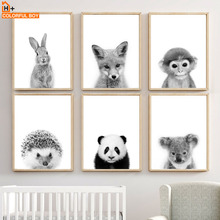 Wall Art Canvas Painting Cute Rabbit Fox Panda Monkey Raccoon Baby Nordic Posters And Prints Pictures For Kids Room Bedroom