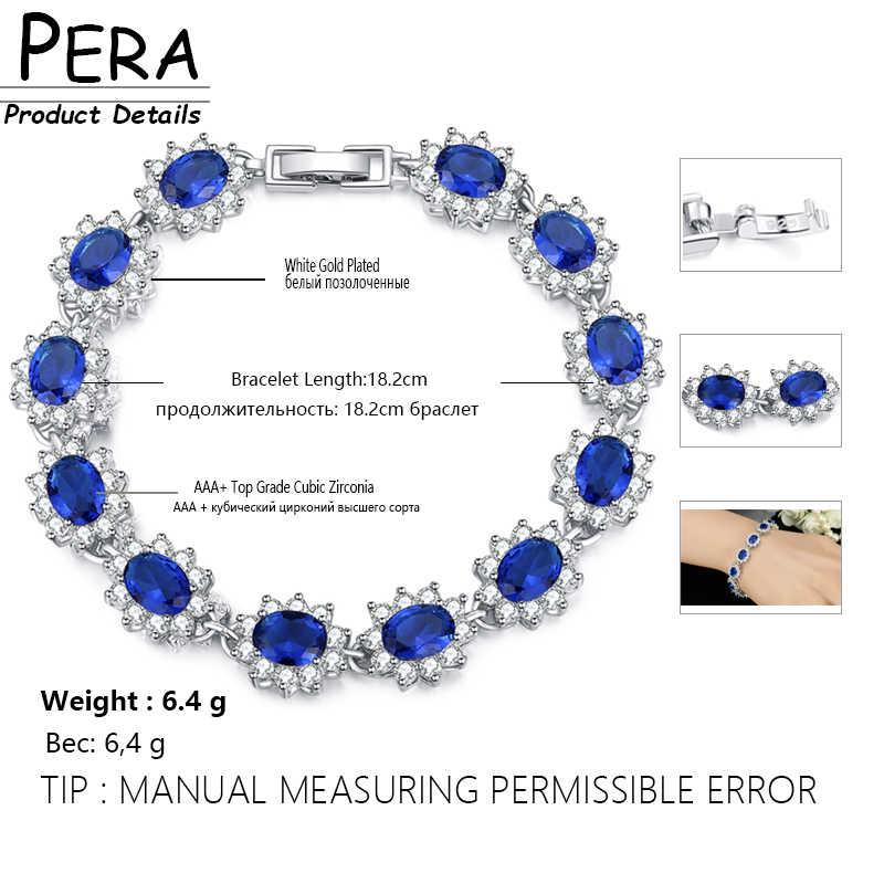 Pera ヴィンテージ王室 925 シルバーオーバルブルーキュービックジルコニアリンク & チェーンブレスレット女性のためのクリスマスギフト B014