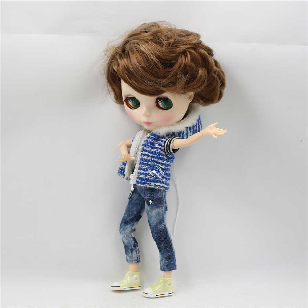 Blyth 1/6 Обнаженная кукла мужское шарнирное тело с короткой коричневой стороной расставания волос глянцевая лицо 30 см Кукла-мальчик ледяной DIY игрушка BJD Подарок № BL9158