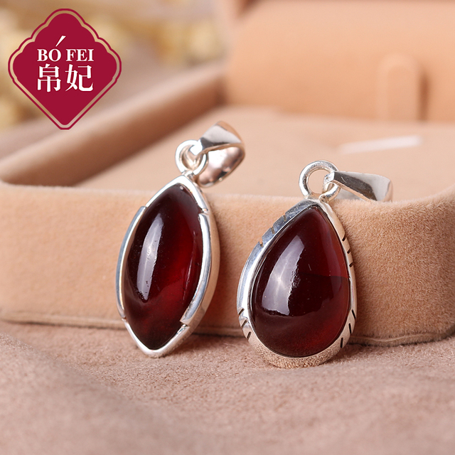 Silk Princess high-end 925 Sterling silver Natural semi-precious stones Red Garnet Pendant water drop Necklace girlfriend gift