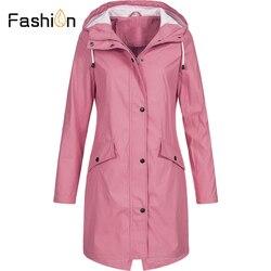 Plus rozmiar 5XL damska solidna kurtka przeciwdeszczowa z kapturem na zewnątrz wodoodporny długi płaszcz kobiety płaszcze przeciwdeszczowe długie piesze wycieczki kurtki z kapturem 2019 6