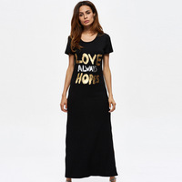 The Supply Of 2017 Summer New Gold Letters Tee Dress Skirt Split Sexy Dress