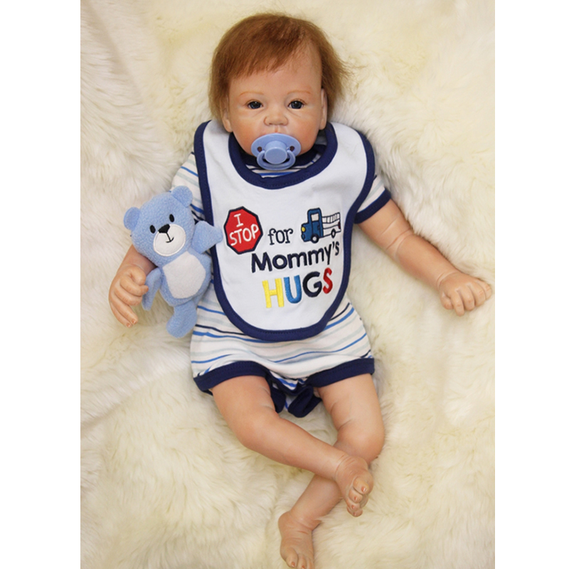 Kids Birthday Xmas Gift 22 Inch Reborn Baby Boy Silicone Soft Newborn Babies Kids Toy Realistic Dolls Cloth Body With Blue Eyes