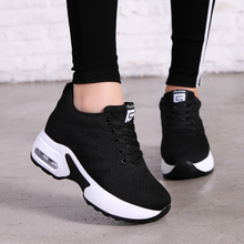 Купить с кэшбэком Hide Heel Fashion Sneakers Women Flying Knitting Casual Shoes Breathable Height Increasing Platform Sneakers White Shoes TT003