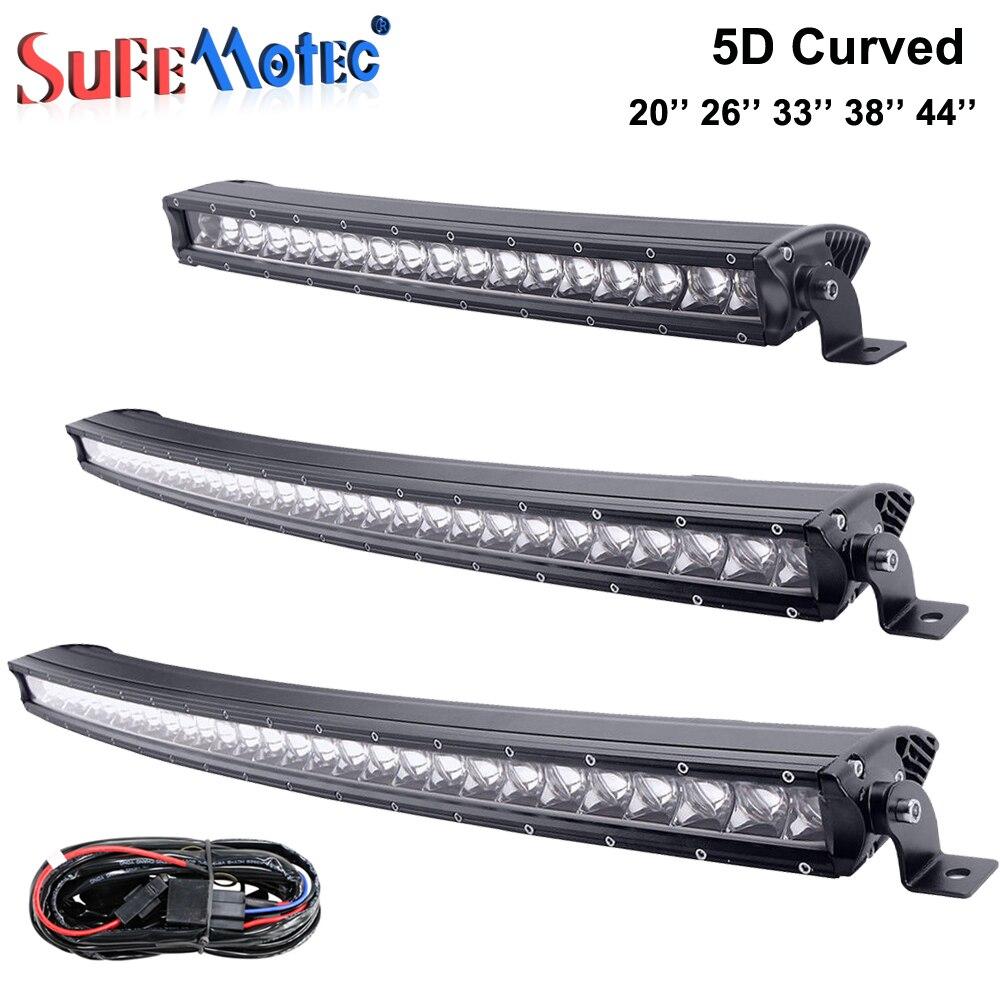 5D 90 W 120 W 150 W 180 W 210 W lumière à LED incurvée Bar simple rangée pour hors route 4X4 camions bateau Mine 20 ''26'' 38 ''43'' lumières de conduite