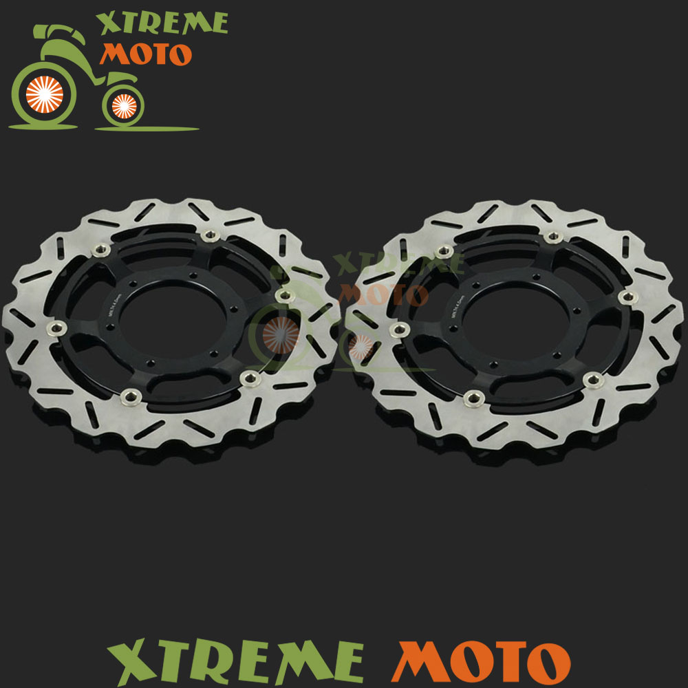 2Pcs Black Motorcycle Front Floating Brake Disc Rotor For CBR600 F4I F4 CBR600F CB900F CB919F Hornet VTX1800 VTX1800F VTX1800R 2pcs black motorcycle front floating brake disc rotor for cbr1100xx blackbird cb1100sf cb1300 cb1300f sc42 1100cc 1284cc