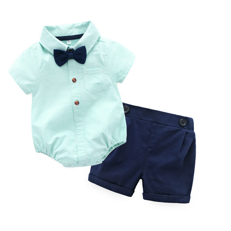 Summer style baby boy clothing set newborn infant clothing 2pcs short sleeve t-shirt + suspenders gentleman suit