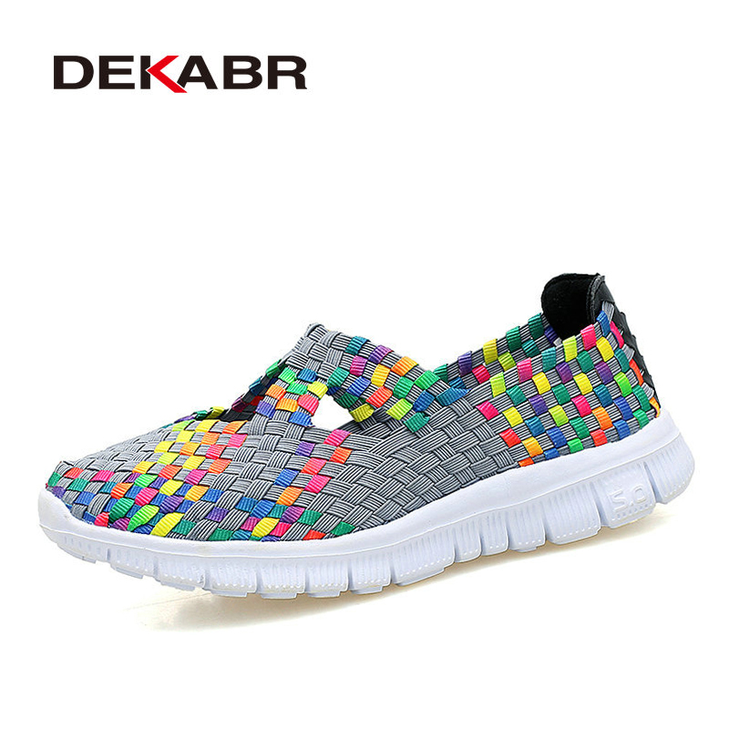DEKABR Summer Slip-on Woman Flat Shoes 2018 New Breathable Female Casual Shoes Fashion Handmade Comfortable Daily Shoes Woman new spring woman crack college pregnancy slip on shoes flat female ladie casual single shoes ballerines femme chaussures soulier