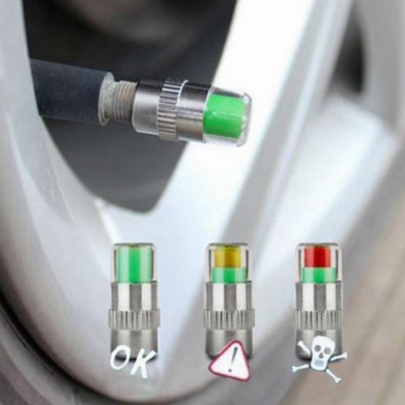 4PCS/SET Car Auto Tire Pressure Monitor Valve Stem Caps Cover Sensor Indicator Eye Alert Tyre Air Gauge Warning Diagnostic