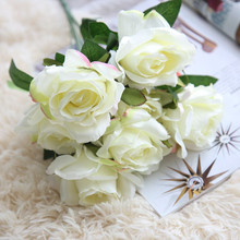 Artificial flower 7 head roses bouquet fake flowers wedding holding home background wall photography set