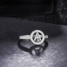 CANNER Classic Wedding Rings for Women Rhinestone Initial Letter Ring Adjustable Alphabet Silver Crystal Fashion Jewelry