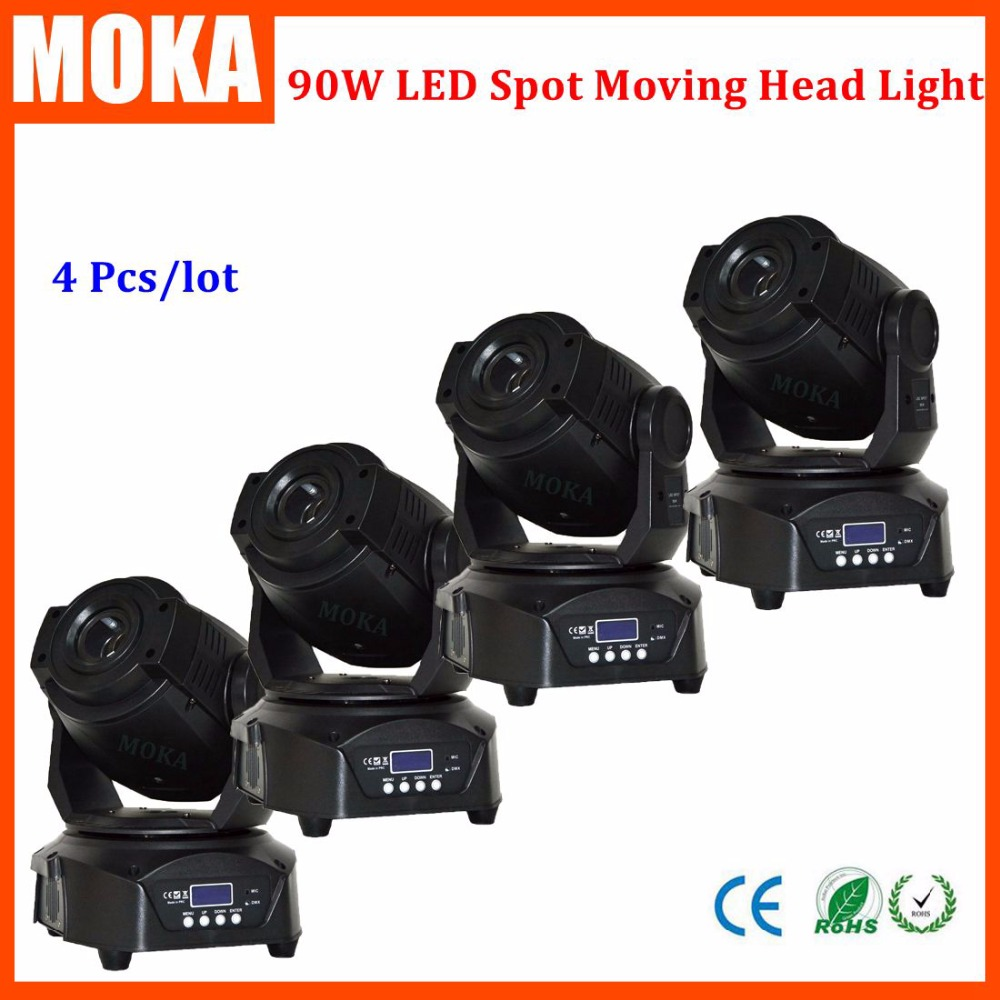 4 Pcs/lot hot sale 90W moving head led wash light zoom 3 Face Prism With LCD Display DMX Controller 14 Channel dj disco light