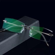 New 8918 Rimless Diamond Eyeglasses Frame for Men Eyewear Fashion