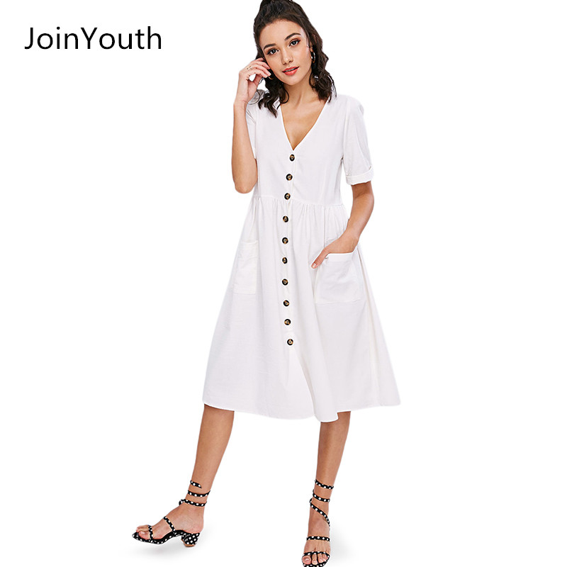 62e8ff4a3b JoinYouth Women s Single Breasted Pockets Button Front Solid White Blue  Loose Fitting Deep V-neck