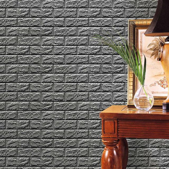 hot pe foam 3d wallpaper diy wall stickers wall decor embossed brick stone gray baby room