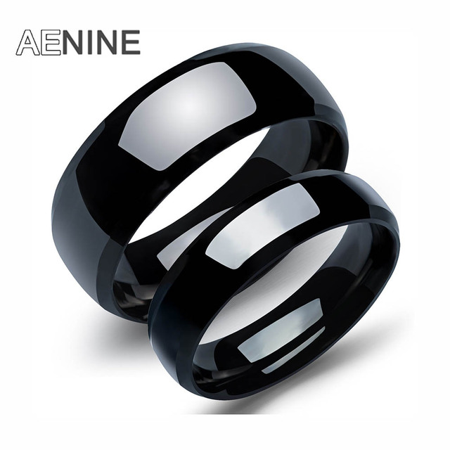 AENINE Trendy Stainless Steel Couple Ring Classical Black Gun Plated Men Women J