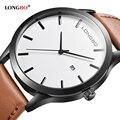 Longbo marca nueva llegada serie de negocios de ocio relojes fecha calendario hombres de cuero impermeable relojes de pulsera 3015