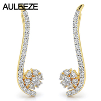 Diamond Engagement Clip Earrings Solid 14K 585 Two Tone Gold Flower Series Earrings Natural Real Diamond Floral Wedding Earrings