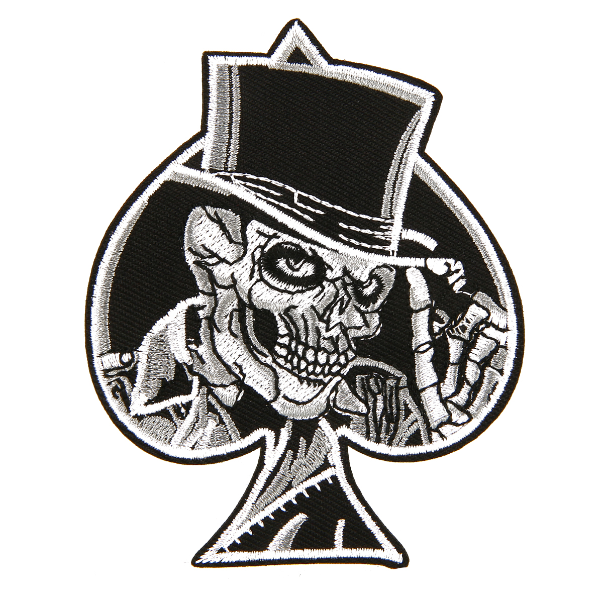 Iron On// Sew On Embroidered Patch Badge Ace of Spades Skull