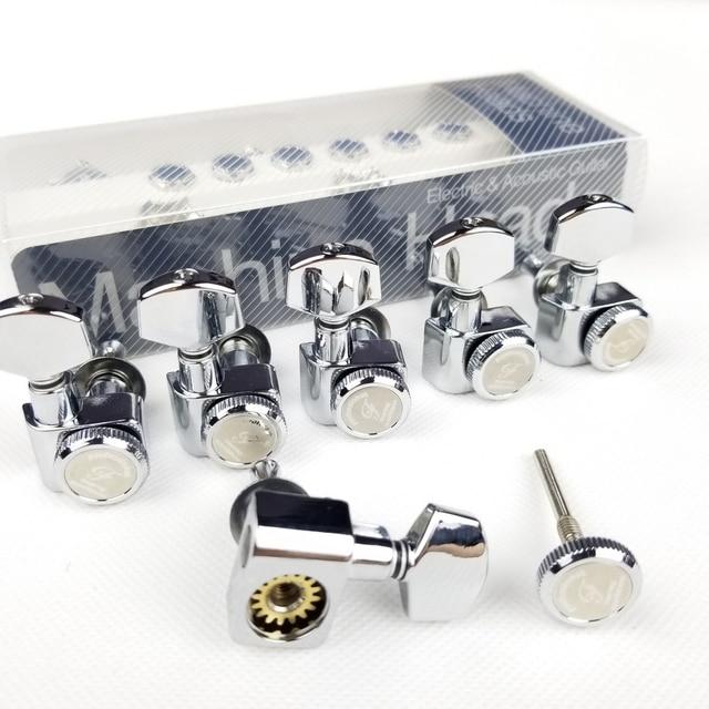 1 Set 6 In Lijn Geen Schroeven Vergrendeling Elektrische Gitaar Machine Heads Tuners Lock String Stemsleutels Chroom Zilver