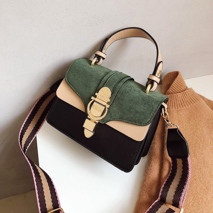 New Women Leather Handbags Luxury Contrast Color Shoulder Bag
