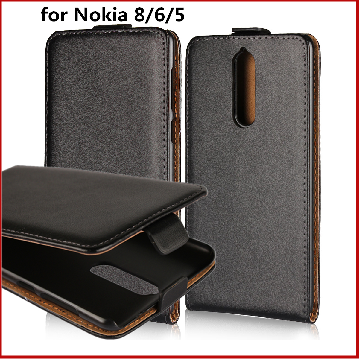 buy popular 0e9aa b39be Clamshell phone case for Nokia 8 6 5 leather case ultra thin Magnetic  adsorption flip coevr case for Nokia 6 5 8