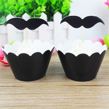 24pcs Black Beard Card Toppers Decoration Cupcake Inserts Cake Dessert Inserted Card Wedding For Bride And Groom Party Supplies eternal love wedding cake inserted card decoration