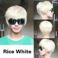 Fashion Man Short Platinum Blonde Rice White Straight Wig HB88