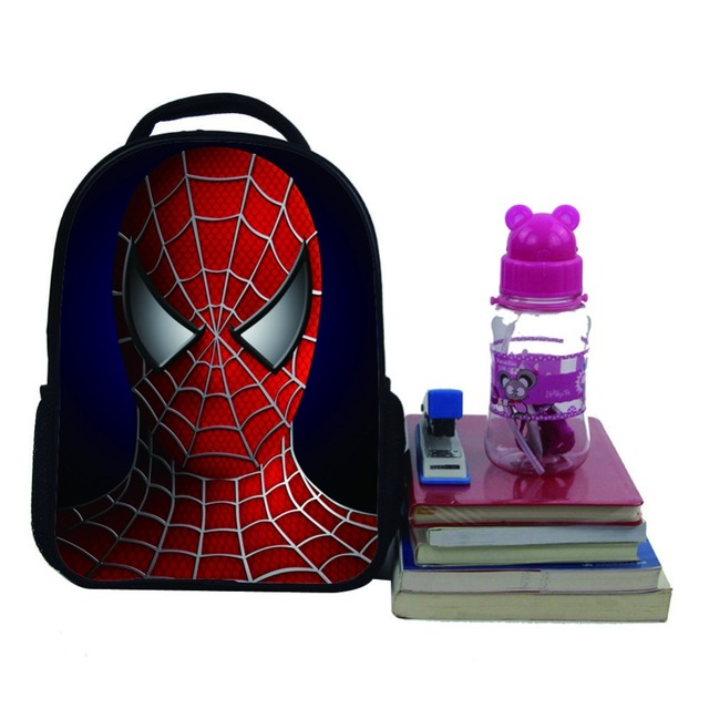 2016 12inch cartoon backpack with zipper fashion style boy cool spiderman bag child schoolbag for kid printing backpack