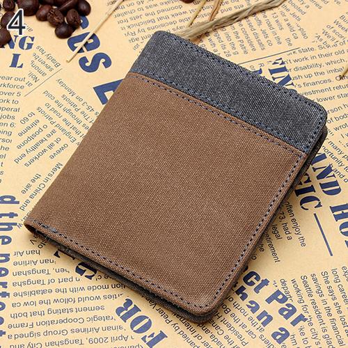 Men's Short Canvas Wallet Vertical Horizontal Bifold Card Money Clutch Multi-slot BVZ6