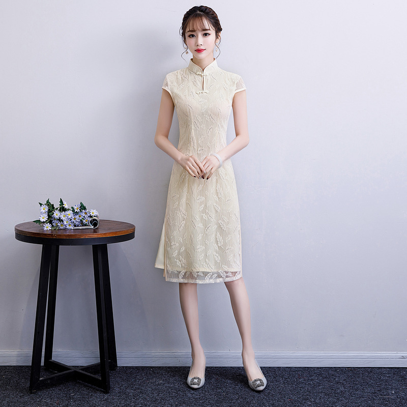 2019 Summer Vintage Chinese Style Qipao Short Embroidery Lace Cheongsam Dress Women's Chinese Traditional Dress Size M - 3XL