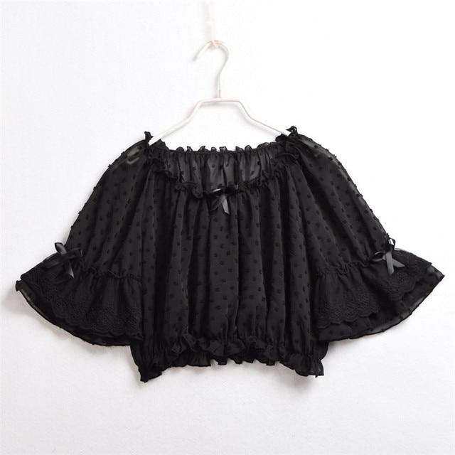 Mesh Lolita Shirt Women Summer Dot Blouses Transparent Elegant See-through Ladies Tops 4