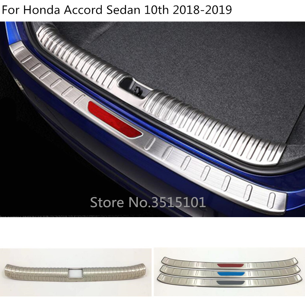 car styling inner inside Rear bumper external outside trim Scuff Sill trunk plate pedal For Honda Accord Sedan 10th 2018 2019 for hyundai tucson 2015 2016 2017 2018 car inner inside rear back bumper trim stainless steel scuff sill trunk plate pedal 1pcs