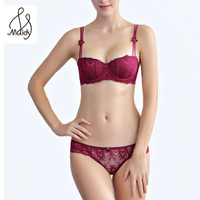 Madiy Ladies Fashion Half Cup Lingerie Hollow Out Lace Floral Pattern Bra Set For Women Sexy Underwear Transparent Briefs #1063