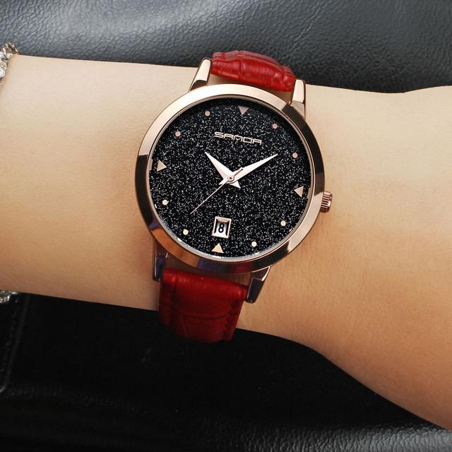 SANDA Women Simple Creative Watches Leather Strap Waterproof Quartz