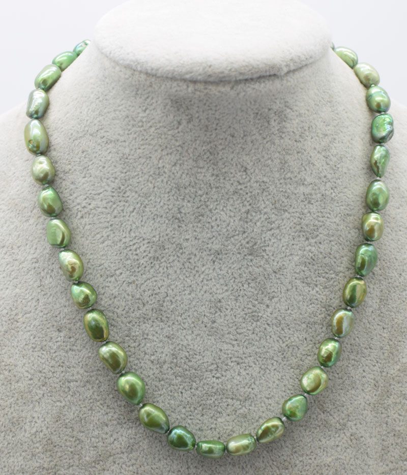 freshwater pearl green baroque 7-9mm necklace 16.5inch FPPJ wholesale beads nature image