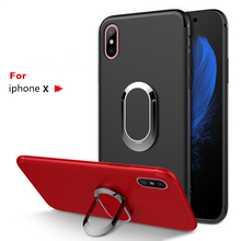 Magnetic Ring Back Cover For iPhone 8 7 6 6S Plus Case Soft Silicone Shockproof Holder Stand Cover For iPhone X XS Max XR Coque цена и фото