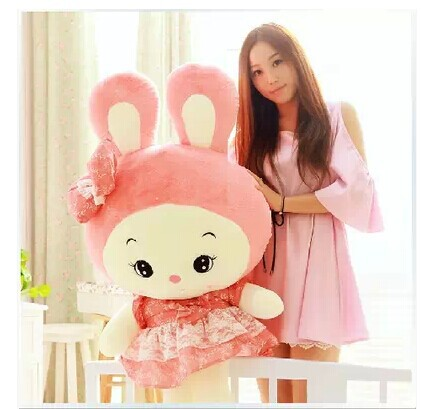 ФОТО stuffed animal 85 cm cute rabbit pink skirt rabbit plush toy doll gift  w2554