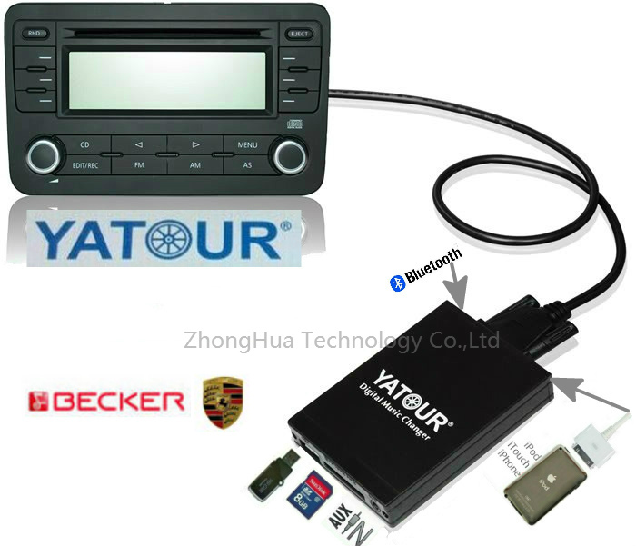 Yatour YTM07 Digital Music CD changer USB SD AUX Bluetooth  ipod iphone  interface for Mercede Benz Becker Porsche Ford Adapter yatour digital cd changer car stereo usb bluetooth adapter for bmw