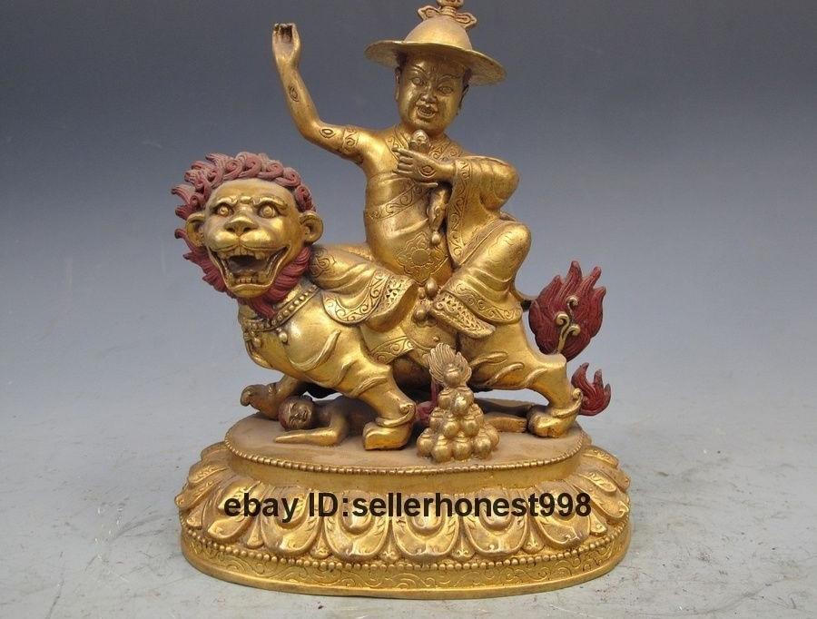 7.5 Tibet Pure Bronze 24K Gold Buddhism Palden Lhamo on Lion Buddha statue7.5 Tibet Pure Bronze 24K Gold Buddhism Palden Lhamo on Lion Buddha statue
