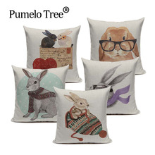 Funda de cojín de peces de algodón Vintage de dibujos animados Animal Luna conejo Cisne 45Cm x 45Cm decoración del hogar cuadrado 3D almohada