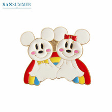 Trendy Cartoon Brooches Women Lovely Charming Cute Rat Mouse Rainbow Badge Brooch Jewelry Pins Simple Accessories