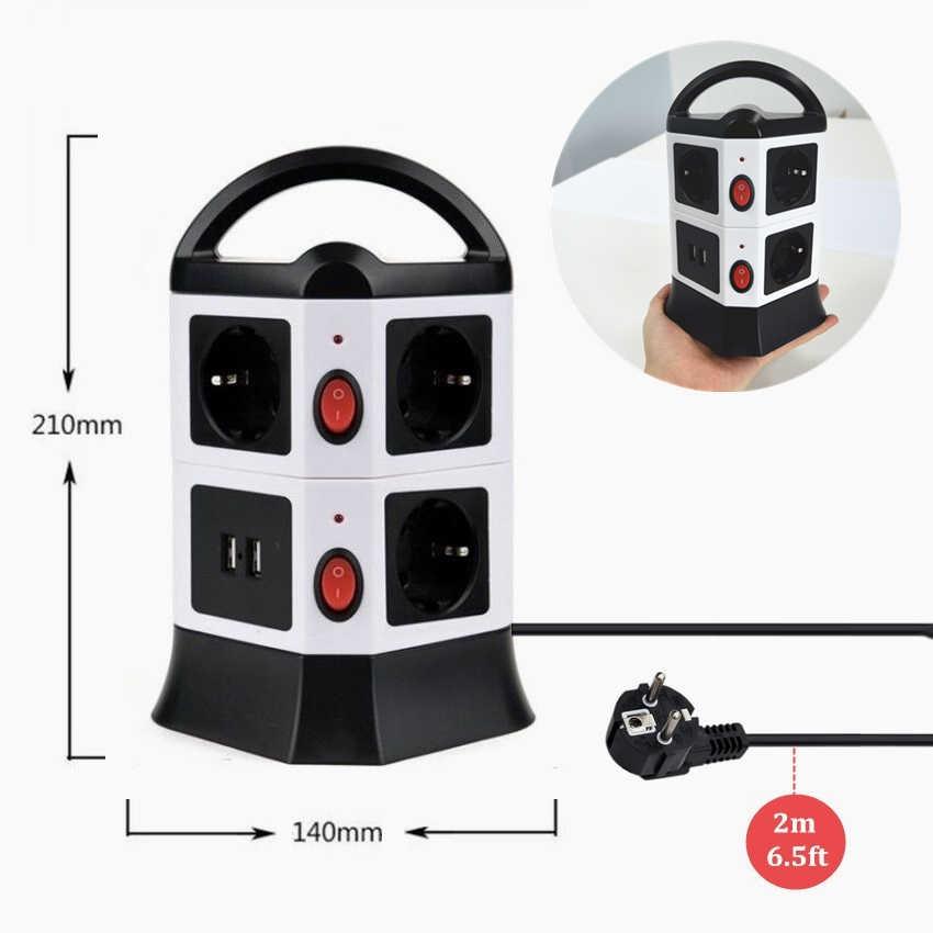 TESSAN ue wtyczka listwa elektryczna wielu wtyczka gniazdo USB z przełącznikiem i 5/6. 5 stóp przedłużacz