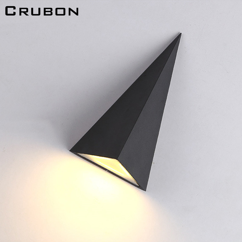 CRUBON Triangle Modern Style LED Wall Light Lamp ,9W 85-265V Warm /cool White Simple and Fashion ,Indoor/Outdoor for Bedside Lam modern led wall lamp black silver metal curve irregular shape warm white cold white 3w led bedside lamp night light ac85 265v page 2 page 3 page 9 page 10 page 7