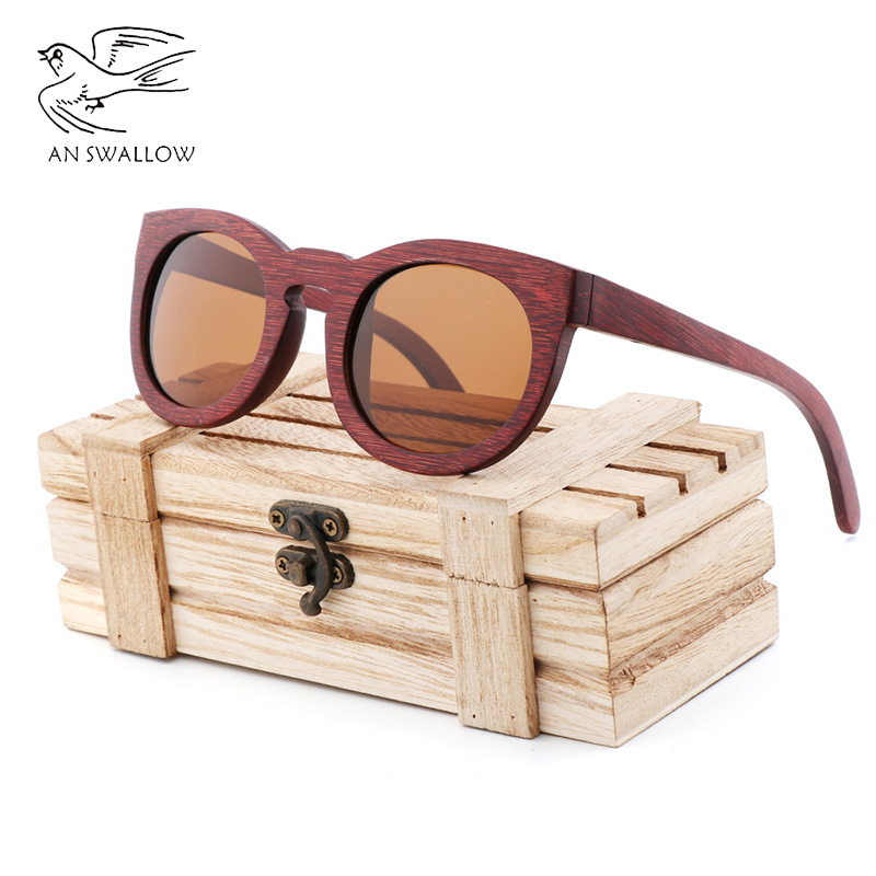 New Womens Sunglasses Bamboo Red Polarizing Fashion Trendy Retro UV400 Sunglass