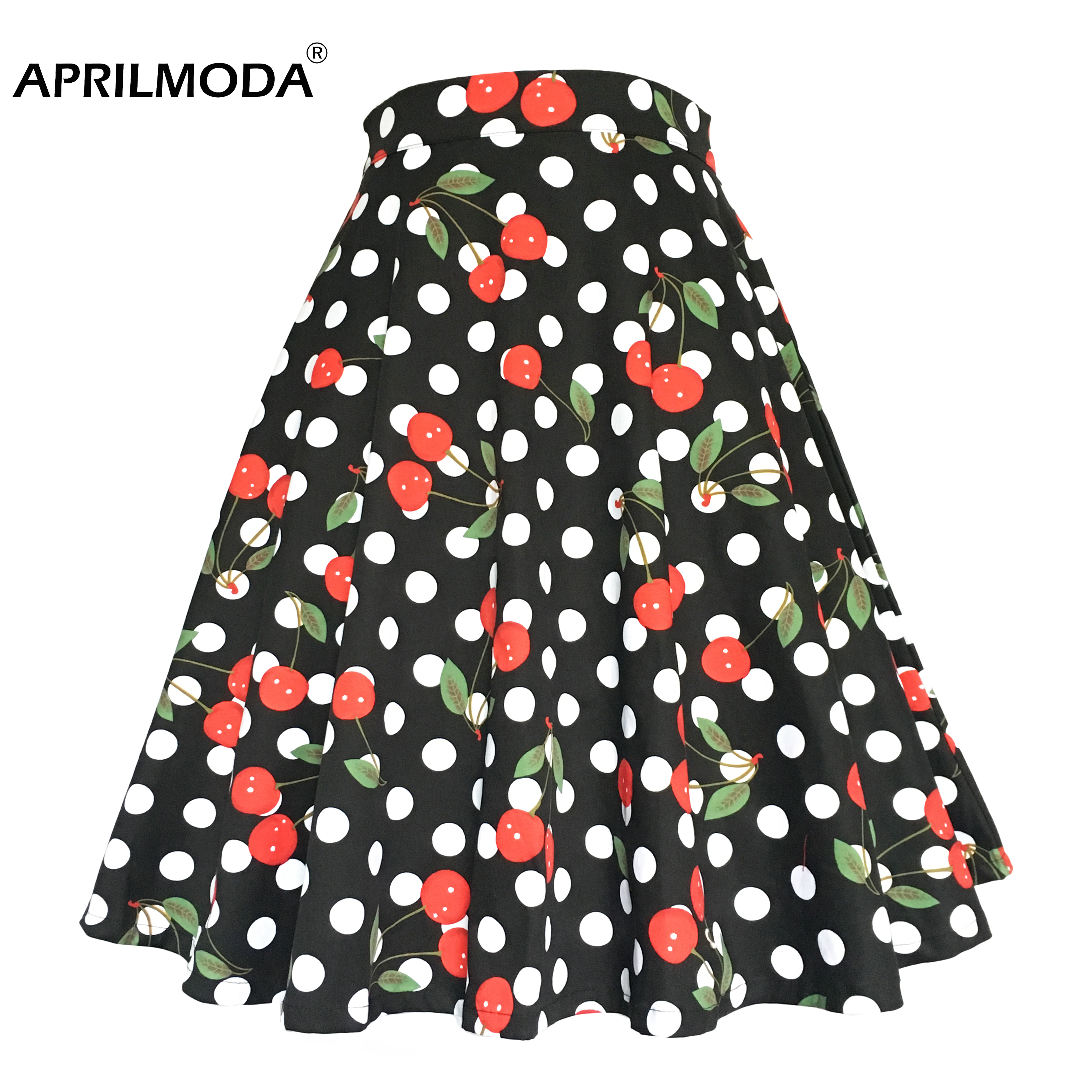 Cherry Printed 1950s Rockabilly Pleated Skirt High Waist Retro Vintage Summer Casual 50s 60s Big Swing Plus Size Skirts Skater
