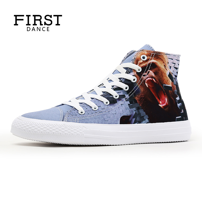 First Dance High Top Shoes Custom 3D Printed Tenis Masculino Adulto Nice Shoes Outdoor Men Canvas Shoes Comfortable Casual Shoes